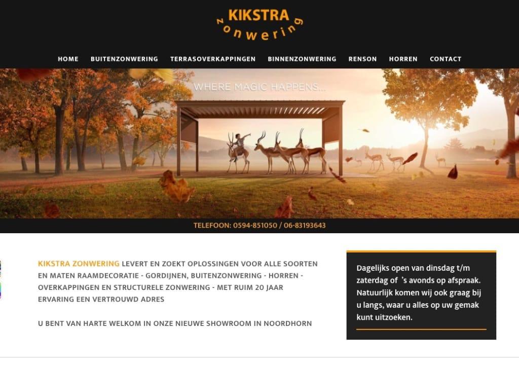 Website Kikstra Zonwering